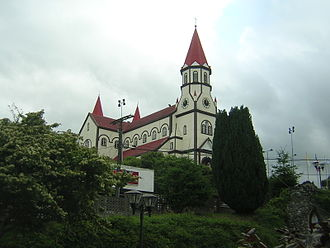 Puerto Varas - German influence is visible in the town's prominent Sacred Heart of Jesus Church