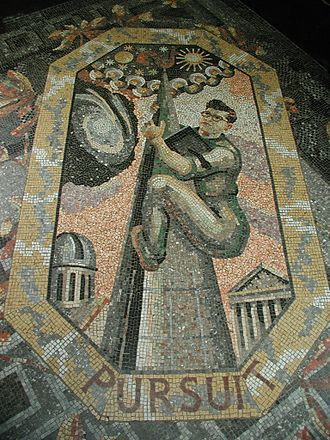 Fred Hoyle - A mosaic by Boris Anrep depicting Fred Hoyle as a steeplejack climbing to the stars, with a book under his arm, in the National Gallery, London.