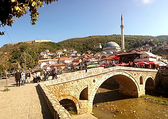 The city of Prizren was the cultural and intellectual centre of Kosovo during the Ottoman period in the Middle Ages and is now the historic capital of Kosovo. Qendra historike e Prizrenitaa.jpg