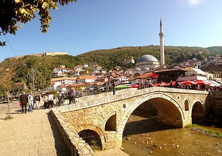 The city of Prizren was the capital of the Serbian Empire and later cultural and intellectual centre of Kosovo during the Ottoman period in the Middle Ages. Qendra historike e Prizrenitaa.jpg