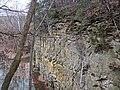 Quartzose sandstones (Byer Sandstone over Black Hand Sandstone, Lower Mississippian; old quarry at Black Hand Gorge, Ohio, USA) 13 (38631796062).jpg