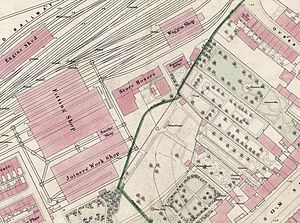 York engine sheds and locomotive works -  Queen Street Works c.1850 (left). South of York-Normanton mainline ; green lines are boundaries