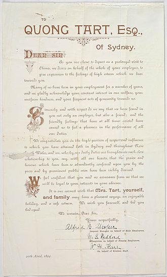 Mei Quong Tart - Bon voyage letter from employees (20 April 1894)