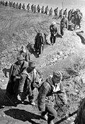 Captive Nazis crossing a field, Odessa Oblast, 1944-04-10
