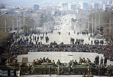 Tajik nationalist protesters squared off against the Soviet Army in Dushanbe RIAN archive 699865 Dushanbe riots, February 1990.jpg