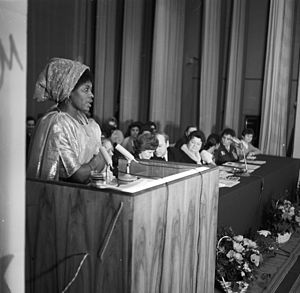 Peoples' Friendship University of Russia - The celebration of the International Women's Day on March 8, 1972 at the Patrice Lumumba People's Friendship University. Wilhelmina Scott Boyle, a third year student from Sierra Leone speaks at the podium.