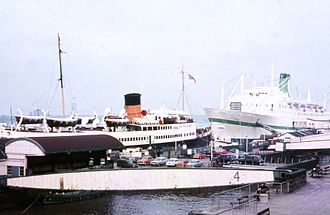 RMS Empress of Canada (1960) - Empress of Canada at, Liverpool, 1971, with Manxman.