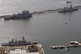 Gibdock - Three Royal Navy ships at Gibdock on 7 September 2016.