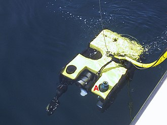 Acoustic release - Figure 4: An acoustic release interrogator (A) is mounted on a ROV, allowing the ROV to home in on the acoustic release to observe or recover in case of a release failure.