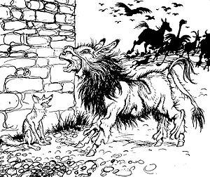 The Ass in the Lion's Skin - Arthur Rackham illustration, 1912