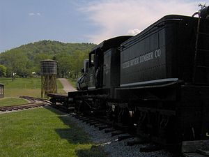 Little River Railroad (Tennessee) - 70-ton Shay engine at the Little River Railroad and Lumber Company Museum in Townsend, Tennessee. This particular engine was used in the Tellico area to the west of Tuckaleechee.