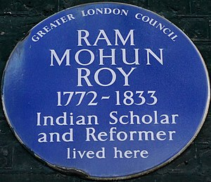 Ram Mohan Roy - Blue plaque, 49 Bedford Square, London