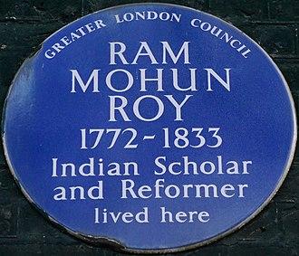 Ram Mohan Roy - Blue plaque, 49 Bedford Square, London