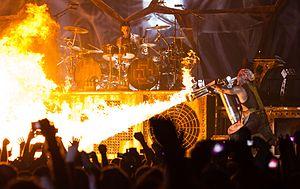 Till Lindemann - Till Lindemann with a flamethrower during a concert