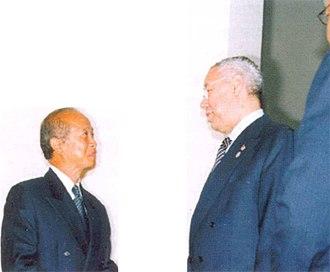 Norodom Ranariddh - Ranariddh meets US Secretary of State Colin Powell in Phnom Penh, 2003