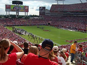 Raymond James Stadium - Buccaneer game action at Raymond James Stadium