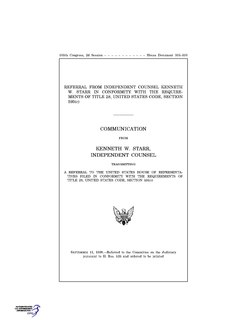 <i>Starr Report</i> government report that led to the impeachment of President Bill Clinton in the Lewinsky scandal