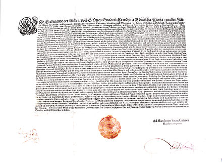 Ferdinand's Reformationspatent ordered every Protestant preacher and teacher in Upper Austria to be inducted into a special registry in 1624. Reformationpatent Ferdinand II.jpg