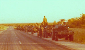 African independence movements - South African military convoy in Namibia, 1978.