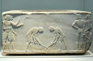 Field hockey - Relief of 510 BC depicting ancient Greek players of kerētízein, an ancestral form of hockey or ground billiards; in the National Archaeological Museum, Athens
