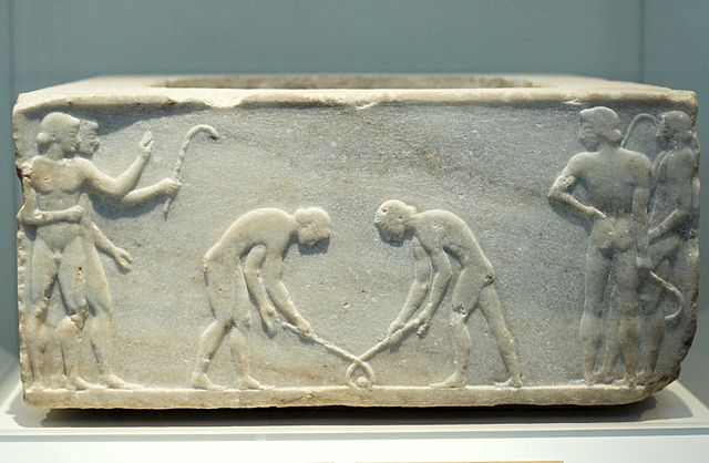 Greek marble relief of a hockey-like game (c. 500 BC) - History of Hockey