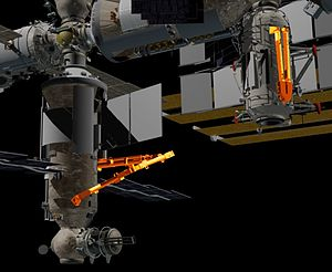 European Robotic Arm - The European Robotic arm is shown on the left attached to Nauka, the spare elbow joint with 2 limbs is shown on the right, attached to Rassvet