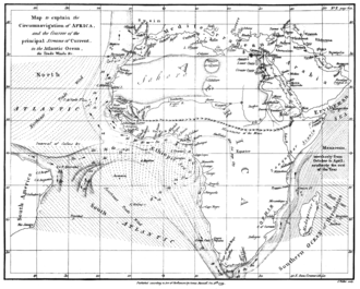 Erythraean Sea - Map showing the Erythraean Sea off the Horn of Africa. Drawn by James Rennell, 1799.