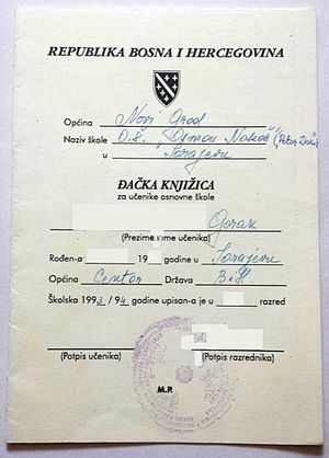 Republic of Bosnia and Herzegovina - RBiH Elementary School wartime student report card.