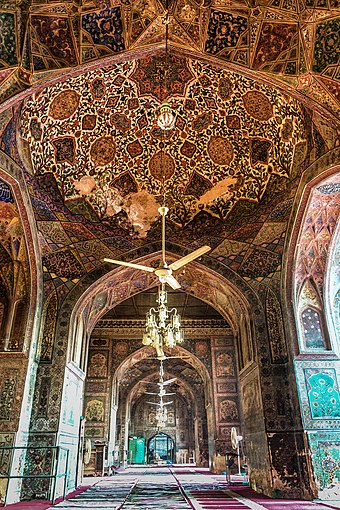 Lahore's Wazir Khan Mosque is considered to be the most ornately decorated Mughal-era mosque. Revised photo Interior of Wazir Khan Mosque.jpg