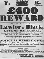 Reward notice lalor black eureka