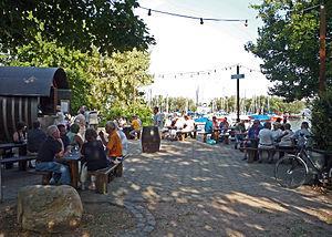 Walluf - Wine tasting stands Rhine River bank