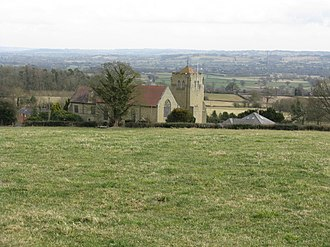 Richard's Castle - All Saints church and the countryside towards Woofferton and the River Teme, viewed from Batchcott