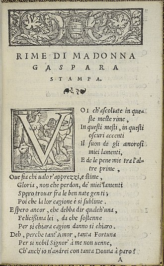 Gaspara Stampa - The first page of Gaspara Stampa's Rime, 1554