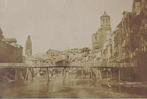 Girona - Onyar river in Girona, c. 1852