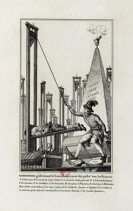 Cartoon showing Robespierre guillotining the executioner after having guillotined everyone else in France. Robespierre guillotinant le boureau apres avoir fait guillot.r tous les Francais.jpg