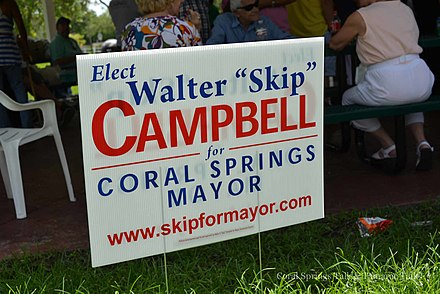 Yard sign from Campbell's 2014 mayoral campaign Rock the Vote Community Picnic (15099172985).jpg