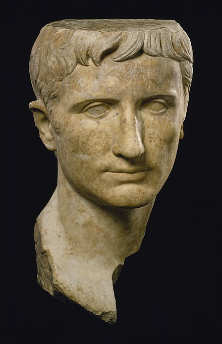 Portraits of Augustus show the emperor with idealized features Roman - Portrait of Emperor Augustus - Walters 2321.jpg