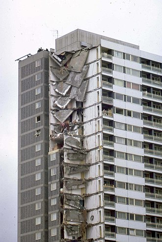 Ronan Point - The explosion on the 18th floor brought down four flats above it, leading to a progressive collapse of one corner of the block