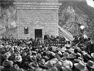 Black and white photograph of Theodore Roosevelt speaking at the dedication ceremony in 1911