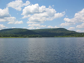 Gamble Township, Lycoming County, Pennsylvania - Rose Valley Lake in Gamble Township, looking west across the lake.