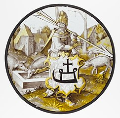 Roundel with Turkish Soldier holding an Arrow and Support