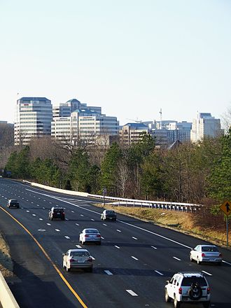 Northern Virginia - Reston, an internationally known planned community, seen from the Dulles Toll Road