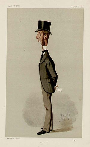 "Rowland Winn, 1st Baron St Oswald - ""the lash"". Caricature by Ape published in Vanity Fair in 1874."