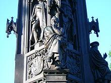 Arndt auf dem anlässlich der 400-Jahr-Feier der Universität im Jahre 1856 errichteten Rubenow-Denkmal in Greifswald (Quelle: Wikimedia)