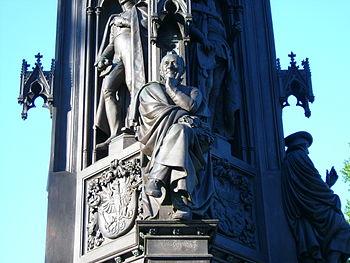 Statue of Ernst Moritz Arndt in front of the Ernst Moritz Arndt University of Greifswald main building