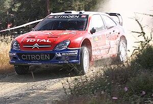 Sébastien Loeb driving his Citroën Xsara WRC a...