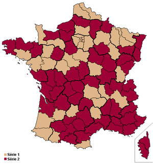 French Senate election, 2011 - Brown areas show departments in contention in the election (Series 1).