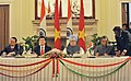 S.M. Krishna and the Deputy Minister of Public Security, Vietnam, Mr. Le Quy Voung signing an agreement on Treaty of Extradition between India and Vietnam, in the presence of the President of Vietnam.jpg