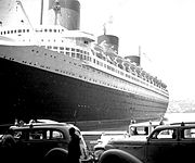 SS Normandie in NYC Harbor at Pier
