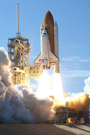 Space Shuttle Discovery - Space Shuttle Discovery launches from NASA Kennedy Space Center Launch Pad 39A on mission STS-124 on May 31, 2008.